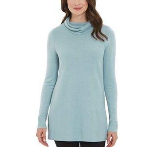 Adrienne Vittadini Cowl Neck Tunic Sweater Blue M